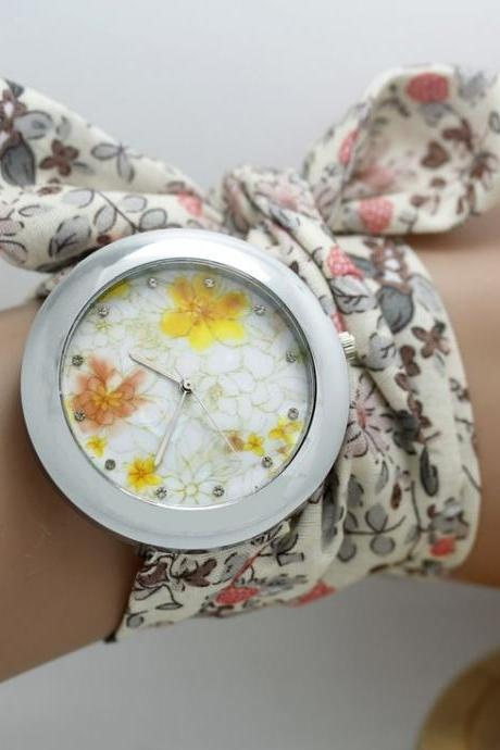 Floral cool cloth strap unisex teen watch