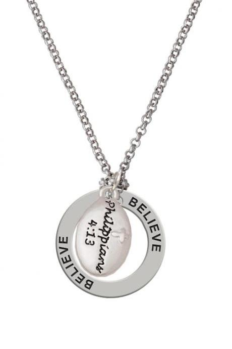 "Silver Plated ""Philippians 4:13"" Bible Verse on Oval Disc-C5965 Affirmation Ring Necklace"