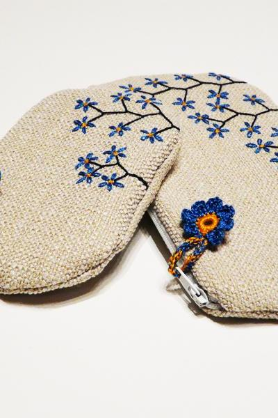 Hand embroidery purse 1 pair unique cluth Beige and blue Pouch