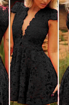 New Fashion Sexy Deep V-Neck Short Sleeve High Waist Lace Dress #AD61102YT