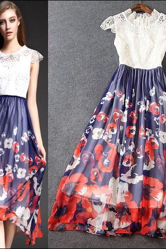 Water Soluble Embroidery Printed Dress Dress