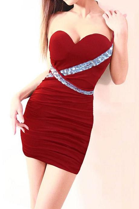 Walking Around The Waist And Double Shoulder Diamond Chest Wrapped Package Hip Dress Sexy Night club