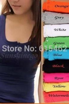 Sexy Women's Button Tank Top Casual Cami Sleeveless Vest Waistcoat Bodycon T-Shirt 9 colors