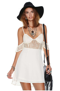 Lace Stitching Chiffon Waist Strap Dress WY