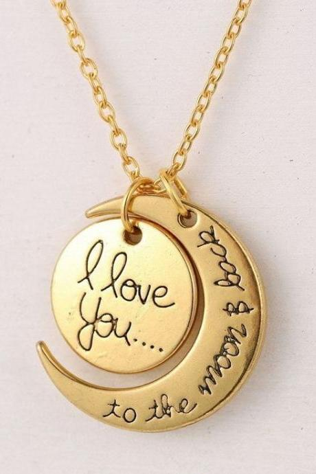 Gold color love you to the moon and back necklace