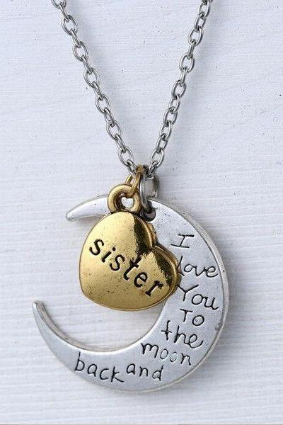 Sister I love you to the moon and back necklace