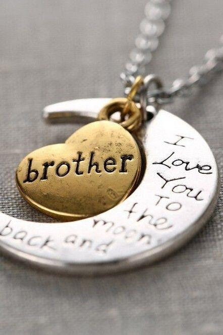 Brother I love you to the moon and back necklace