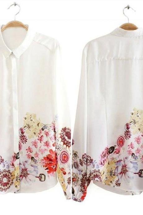 Beautiful Retro Floral Print Long Sleeve Top