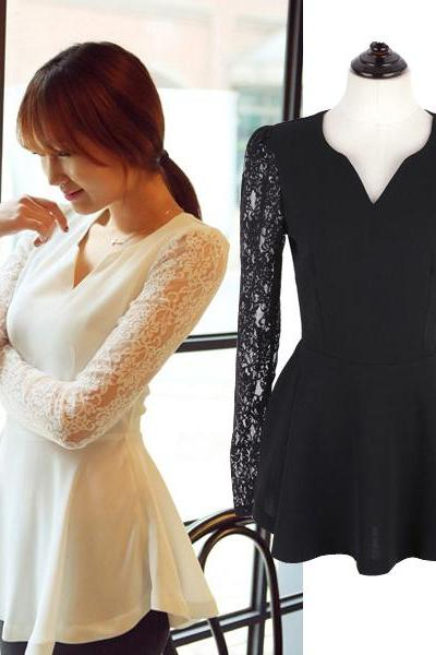 V Neck Long Sleeve Lace Top In Black