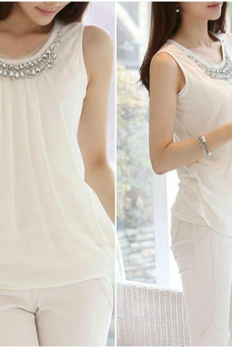 Beaded Round Neck White Chiffon Top