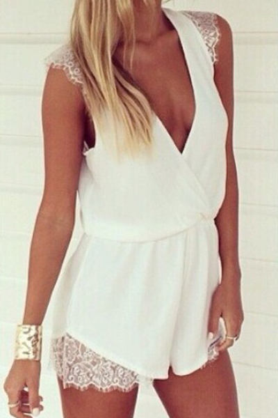 Deep V Neck Sexy White Lace And Chiffon One Piece Jumpsuit AD08