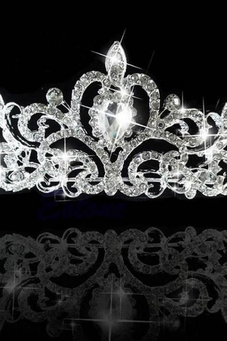 Bridal Princess Austrian Stunning Silver Crystal Hair Tiara Wedding Crown Veil Headband