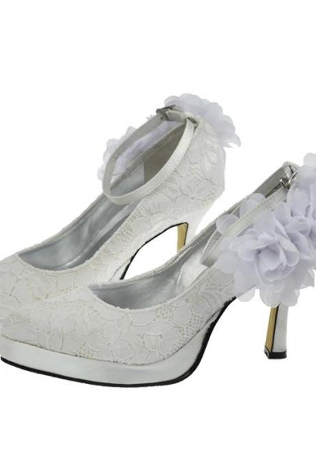 New Arrival White Lace Bridal Wedding,Party Dress with flower, Bridal Shoe,Woman shoes,wedding shoes