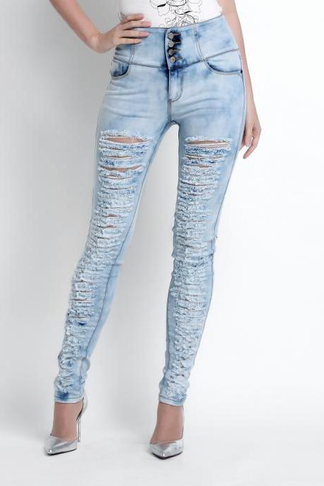 Ladies' high waist denim pants