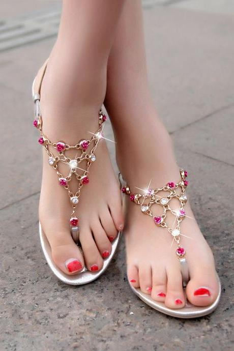 Flat Bottom Color Diamonds Chain Sandals
