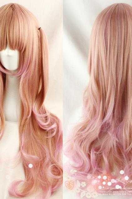 Light Golden Pink Color Mixing Curls Harajuku Lolita Girl Women Wig 70cm Long