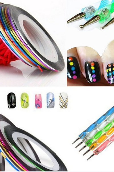 Hot Sale Manicure sets Tools 5X2 Way Marbleizing Dotting Pen+10 Color Rolls Nail