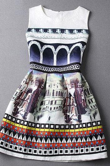 Fashion New Sleeveless Zipper Closure Printed Flared Skater Dress