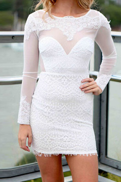 Sexy long sleeve lace halter dress SF61604JL