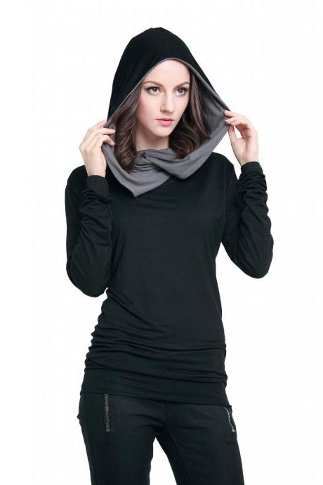 Color Cap Slim Long Sleeve T - Shirt