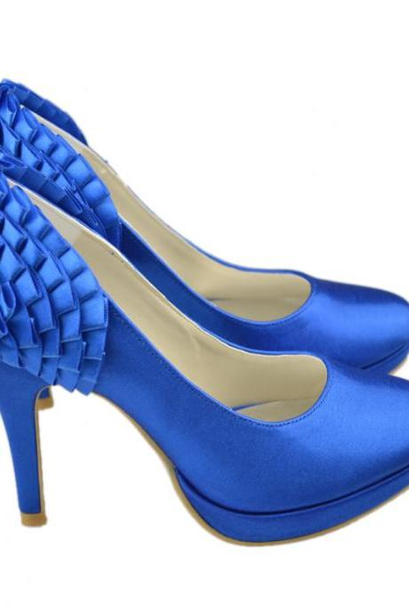 Newest Royal Blue Bridal Wedding shoes,Bridal High Heels,Satin Party Dress, Bridal Shoe,Woman shoes,wedding shoes