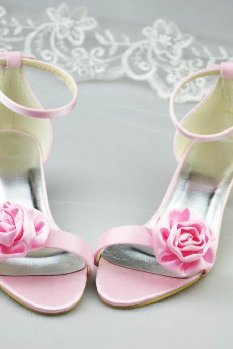 New Arrival Pink Bridal Wedding shoes,Bridal High Heels,Satin Party Dress, Bridal Shoe,Woman shoes,wedding shoes