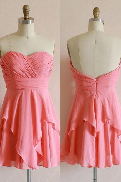 Pretty Short Pink Knee Length Prom Dresses 2015, Graduation Dresses 2015, Homecoming Dresses
