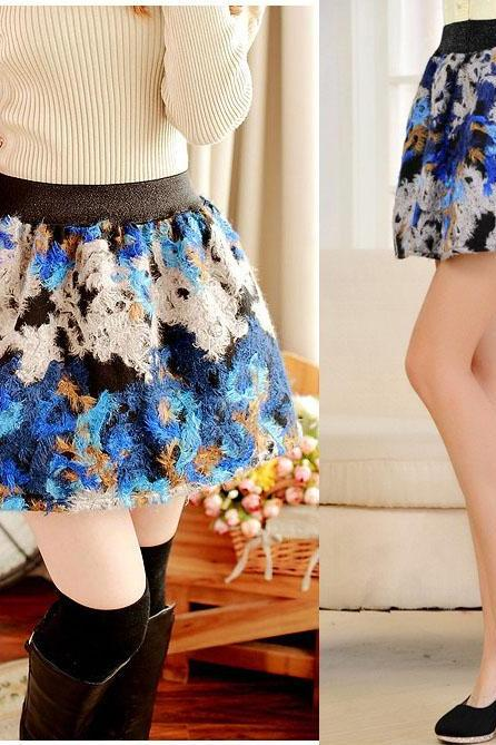 Ball Gown Short Wool Blend Skirt