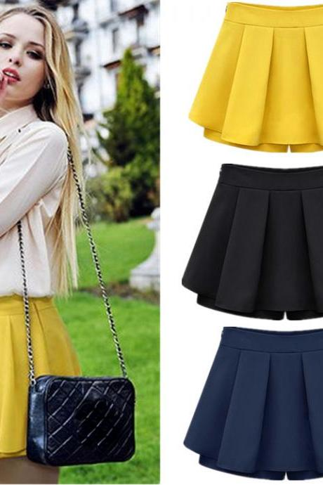 Pleated Chiffon Short Pants / Skorts - black , yellow , blue