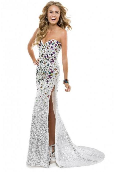Elegant Silver-white V-neck Split Front Lace-up Party Prom Dress