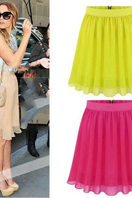 Medium Waist Chiffon Pleated Mini Skirt