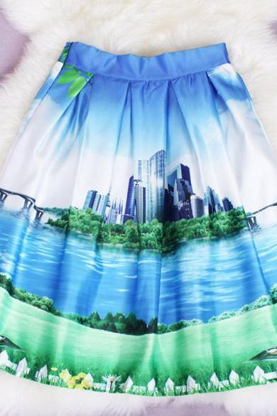 Print Pleated Loose Knee Length Skirt