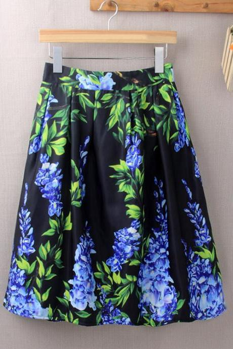 European Printed Loose Puff Midi Skirt