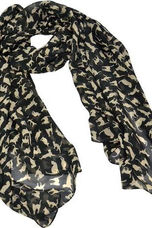 Chiffon Sweet Cat Pattern Long Scarf