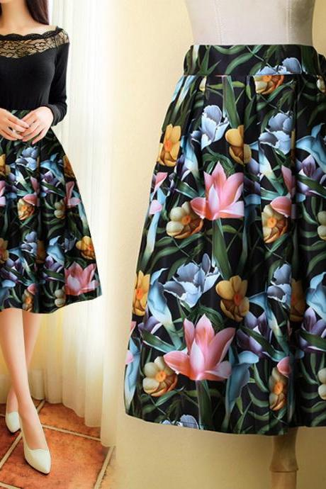 Best Sale New New Fashion Lady Women High Waist Print A-Line Pleated Midi Swing Skirt