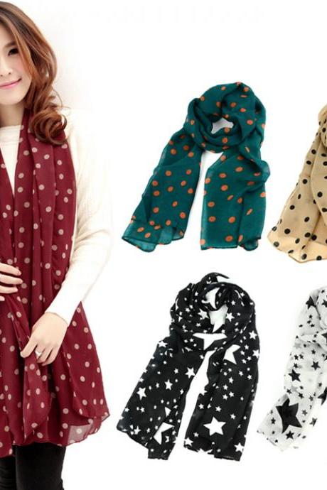 Lady Dots Spot Chiffon Soft Shawl Scarf Neck Wrap Headscarf