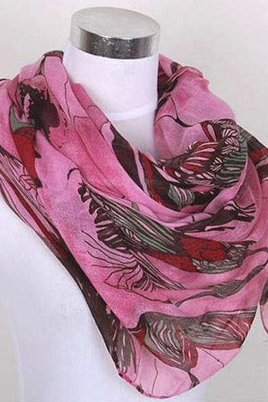 New Fashion Begonia Flower ink Style Cotton Neck Scarf Shawl