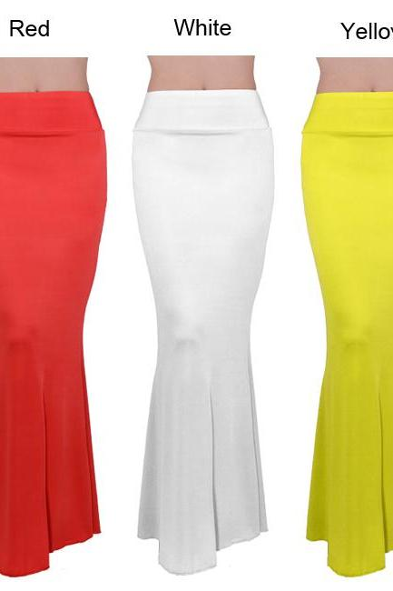 Long Foldover High Waisted Elegant Maxi Skirt Solid Color