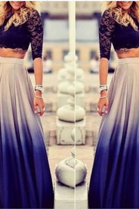 Best Sale New Stylish Lady Women Casual Chiffon Gradient Skirt High Waist Long Pleated Elegant Skirt