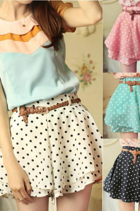 Lady Girl Summer Chiffon Polka Dot Pleated Skirt Mini High Waist Skirt