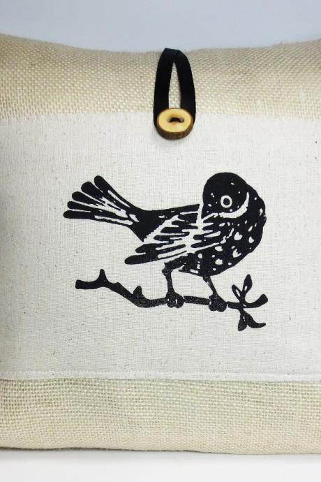 Decorative burlap throw pillow cushion cover with screen print black bird