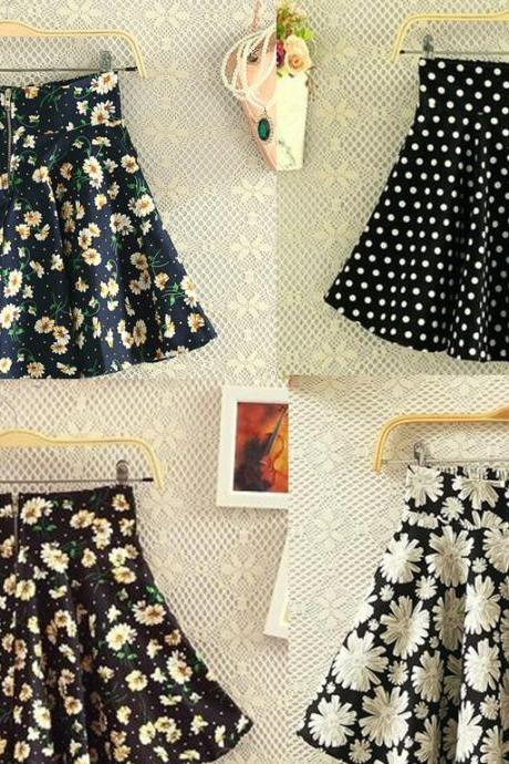 Cute Summer Flower Print Skirts, Girl Skirts, Skirts, Women Skirts, Short Skirts