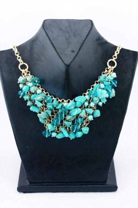 Blue stones fashion prom woman necklace