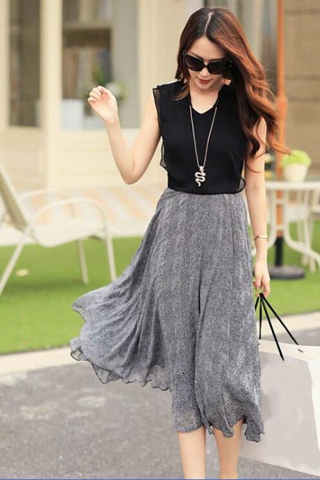 Female Sleeveless Chiffon Dress Black Gray Western Long Dress