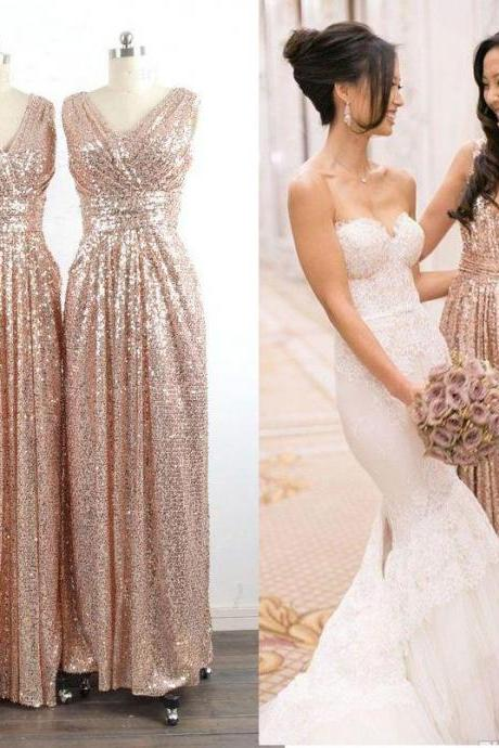 High fashion V neck sleeveless pleat A line floor length long gold bridesmaid dress,sequins dress for wedding party