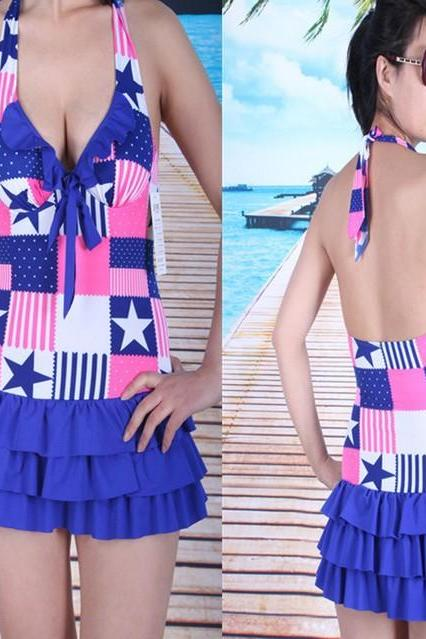 New Women Colorful Bow Halter Swimwear Sexy layered skirt swimsuit