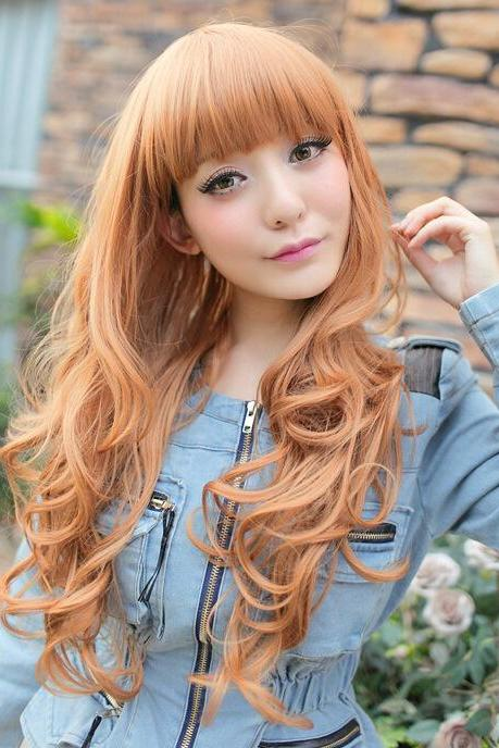 Trendy Hair Wig long golden Curls Waves Hair Roll Wigs