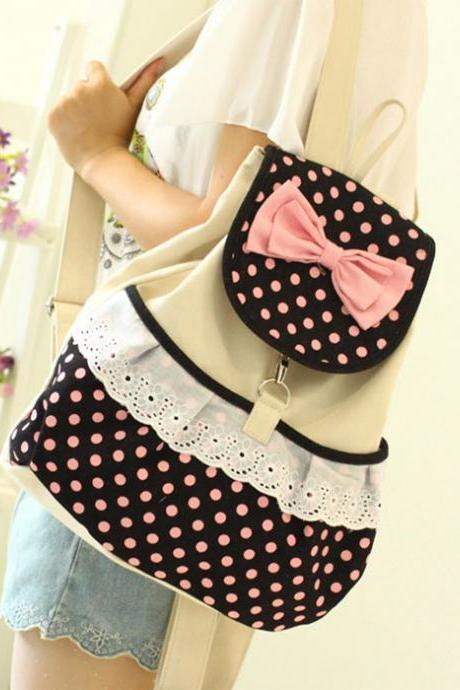 Lovely Polka Dot Bow Backpack