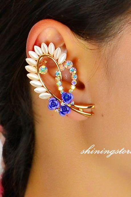 Rose Ear Cuff, Rose earrings - Right ear, Zircon opal ear cuff, Bohemain ear cuff, Unique earrings gift for her