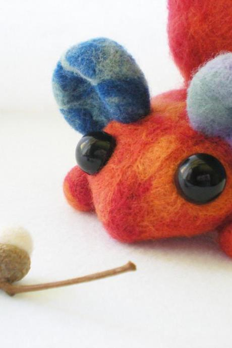 Orange Woodland Critter - Needle Felted